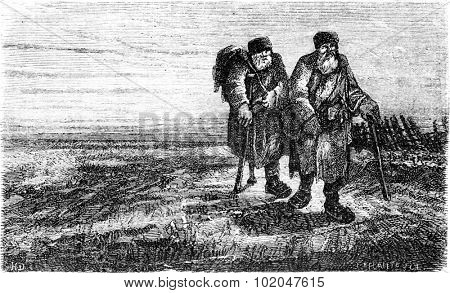 Two peasants on the road near Tauroggen, vintage engraved illustration. Le Tour du Monde, Travel Journal, (1865).