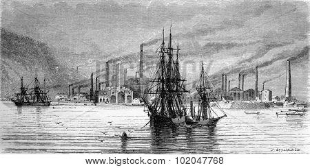 Swansea factories and docks, vintage engraved illustration. Le Tour du Monde, Travel Journal, (1865).