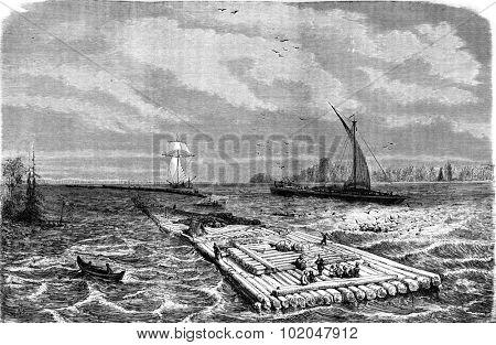 Praam and rafts on the Dvina, vintage engraved illustration. Le Tour du Monde, Travel Journal, (1872).