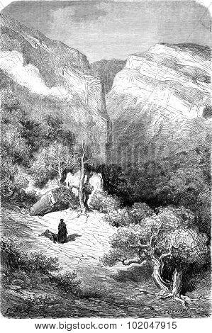 Ravine in the Sierra de Ronda, vintage engraved illustration. Le Tour du Monde, Travel Journal, (1872).