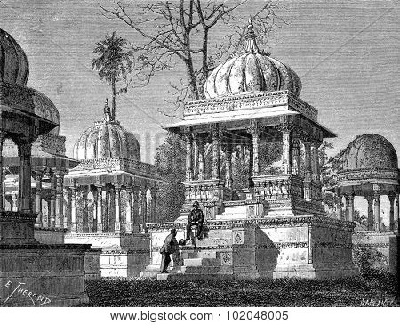 Tombs of the Kings at Maha Sati Ahar, in Udaipur, vintage engraved illustration. Le Tour du Monde, Travel Journal, (1872).