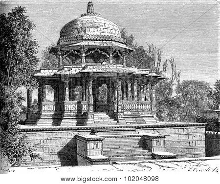 Cenotaph of Sangram Singh, Udaipur, vintage engraved illustration. Le Tour du Monde, Travel Journal, (1872).