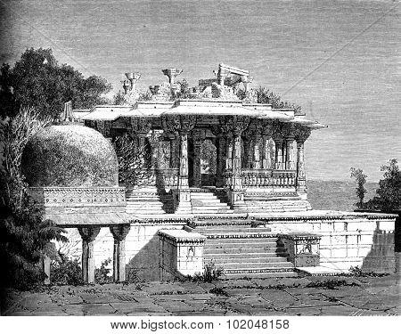 Cenotaph in ruins, Udaipur, vintage engraved illustration. Le Tour du Monde, Travel Journal, (1872).