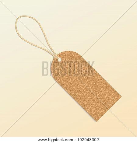 Cork Natural Tag , Label . Vector