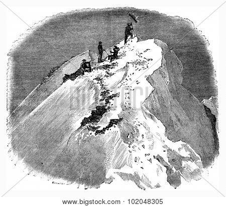 Summit of the Matterhorn, vintage engraved illustration. Le Tour du Monde, Travel Journal, (1872).