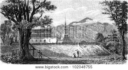 A Lao Pagoda (Wat Luang Prabang Tomea Soc), vintage engraved illustration. Le Tour du Monde, Travel Journal, (1872).