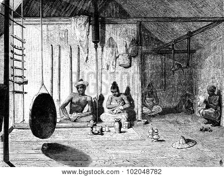 The Burmese Muong Yong and his wife, vintage engraved illustration. Le Tour du Monde, Travel Journal, (1872).
