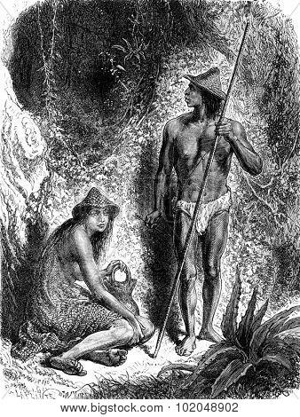 Indians of the Sierra Nevada, vintage engraved illustration. Le Tour du Monde, Travel Journal, (1872).