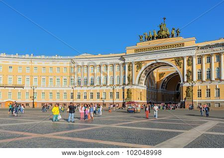 Saint Petersburg/Russia - August 01, 2015: The General Staff Building