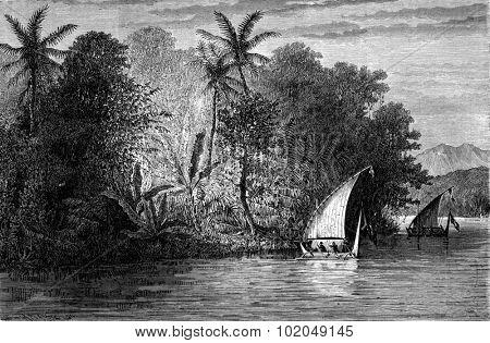A view Celebes, vintage engraved illustration. Le Tour du Monde, Travel Journal, (1872).