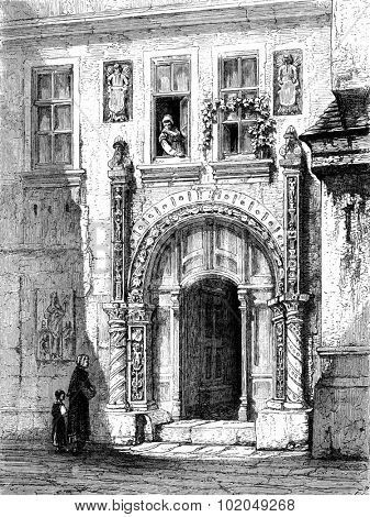Luther House in Eisenach, vintage engraved illustration. Le Tour du Monde, Travel Journal, (1872).