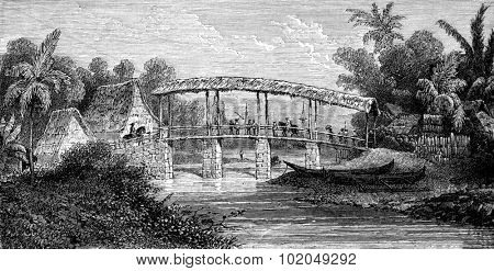 River Batour-Mera, Ambon, vintage engraved illustration. Le Tour du Monde, Travel Journal, (1872).
