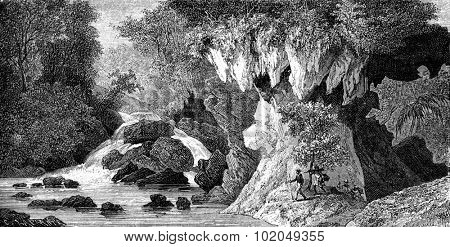 Ravine Baton-Ganton, vintage engraved illustration. Le Tour du Monde, Travel Journal, (1872).