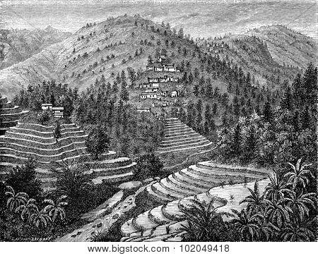 Village and rice mountain, Road Pu-erh, vintage engraved illustration. Le Tour du Monde, Travel Journal, (1872).