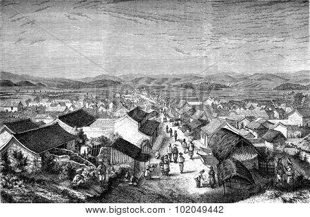 Eastern suburb of Se-mao, vintage engraved illustration. Le Tour du Monde, Travel Journal, (1872).