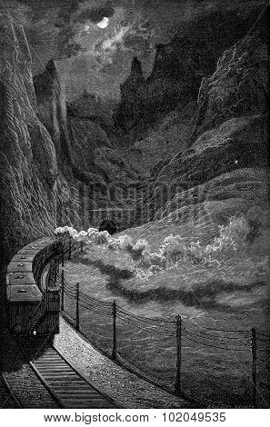 The Gargantas (grooves) of Pancorbo tunnel, vintage engraved illustration. Le Tour du Monde, Travel Journal, (1872).