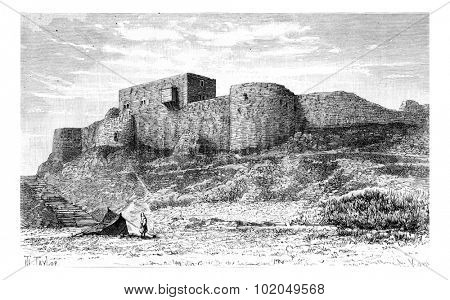Tebnine Castle in Abel Mountain, Lebanon, vintage engraved illustration. Le Tour du Monde, Travel Journal, 1881