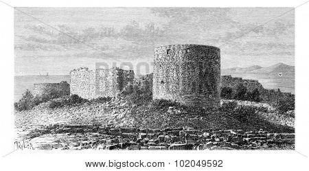 Sidon Sea Castle in Sidon, Lebanon, vintage engraved illustration. Le Tour du Monde, Travel Journal, 1881