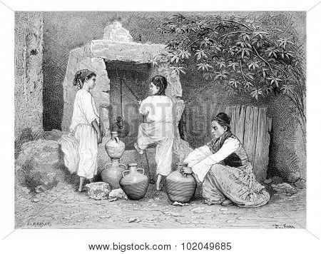 Arab Girls Drawing Water from a Well in Acre, Israel, vintage engraved illustration. Le Tour du Monde, Travel Journal, 1881