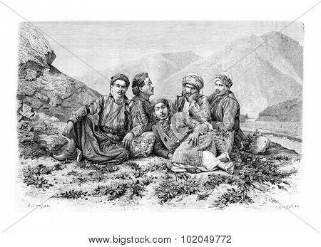 Camel Drivers Resting, vintage engraved illustration. Le Tour du Monde, Travel Journal, 1881