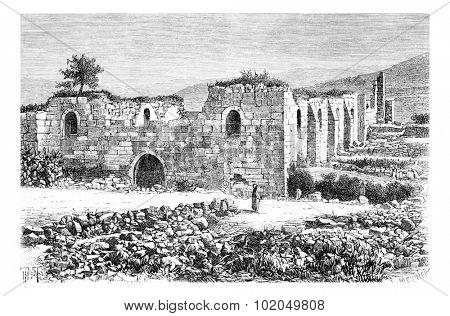 Cathedral of Saint John the Baptist in Samaria, Israel, vintage engraved illustration. Le Tour du Monde, Travel Journal, 1881