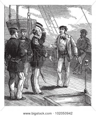Bandits of the sea. He stopped with a respectful attitude, vintage engraved illustration. Journal des Voyages, Travel Journal, (1879-80).