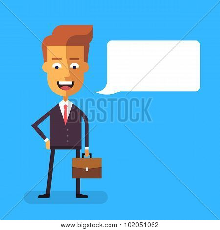 Handsome businessman  with a briefcase. Vector.