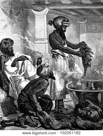 Fijian cannibals. These huge pots contain human flesh, vintage engraved illustration. Journal des Voyages, Travel Journal, (1880-81).