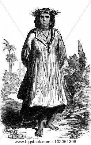 Tahiti. Type of woman, vintage engraved illustration. Journal des Voyages, Travel Journal, (1880-81).