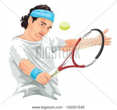 Vector illustration of tennis player hitting backhand shot.