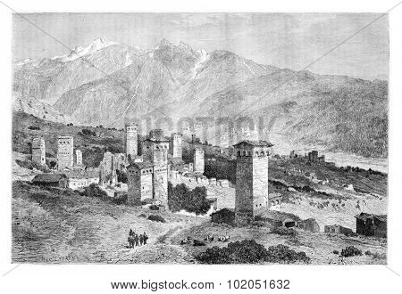 Towers of Svaneti in Svaneti, Georgia, drawing by Laurens based on a sketch, vintage illustration. Le Tour du Monde, Travel Journal, 1881