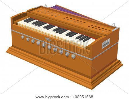 Vector illustration of harmonium.