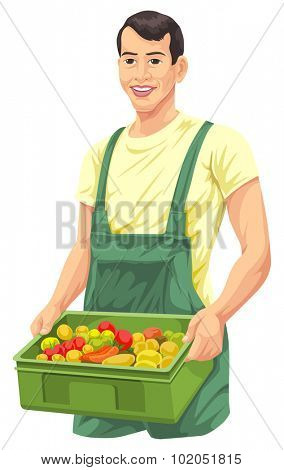 Vector illustration of farmer with fresh vegetables in basket.