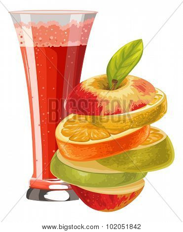 Vector illustration of sliced fruit and mocktail in glass.