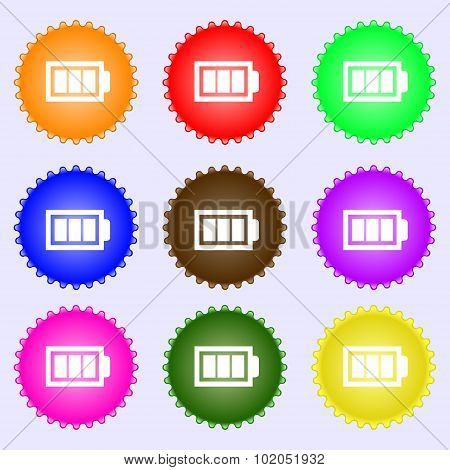 Battery Fully Charged Sign Icon. Electricity Symbol. A Set Of Nine Different Colored Labels. Vector