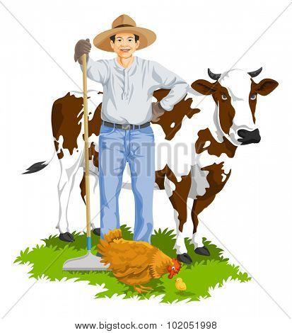 Vector illustration of farmer with hen and cow at farm.