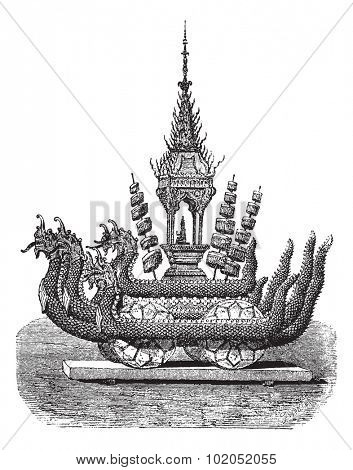 Chariot of Buddha in a cave, vintage engraved illustration. Le Tour du Monde, Travel Journal, (1872).