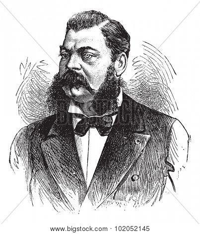 E. Pertuiset, Lion hunter, vintage engraved illustration. Journal des Voyages, Travel Journal, (1879-80).
