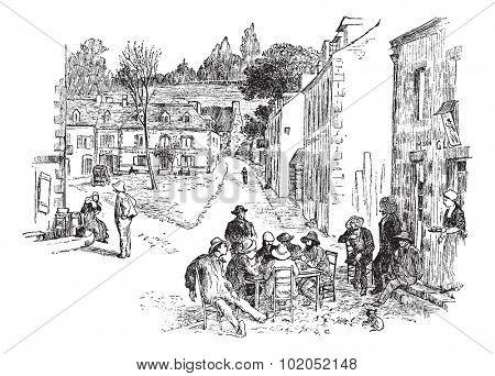 The hour of rest in Pont-Aven, vintage engraved illustration. Journal des Voyages, Travel Journal, (1879-80).