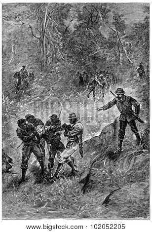 Black dragged towards the Fitzroy River, vintage engraving.