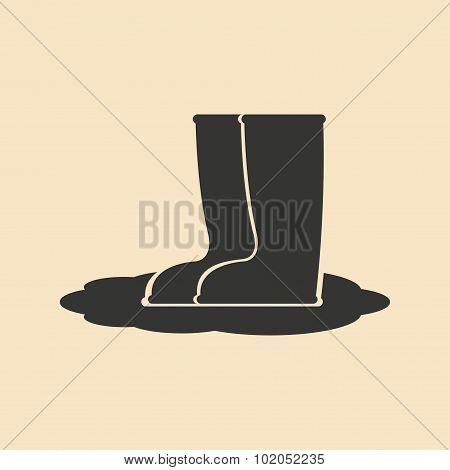 Flat in black and white mobile application rubber boots