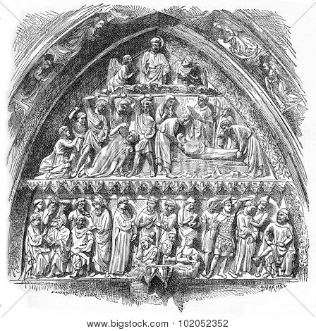 History of Saint-Etienne, lateral portal tympanum of Notre-Dame Cathedral, vintage engraved illustration. Industrial encyclopedia E.-O. Lami - 1875.