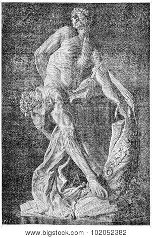 Milo of Croton by Puget, vintage engraved illustration. Industrial encyclopedia E.-O. Lami - 1875.