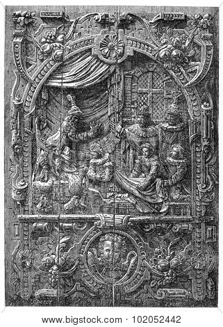 Low relief of a French chest of the sixteenth century. Coronation of Henry of Anjou, King of Poland, in the church St. Stanislaus in Krakow, vintage engraved illustration.