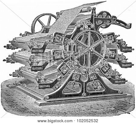 Printing machine wallpaper, vintage engraved illustration. Industrial encyclopedia E.-O. Lami - 1875.