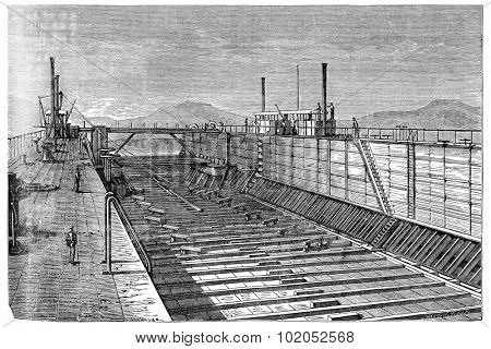 Floating dock of the Viceroy of Egypt, vintage engraved illustration. Industrial encyclopedia E.-O. Lami - 1875.