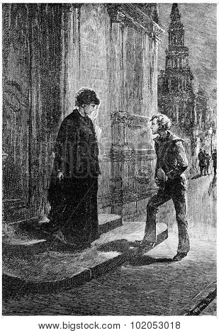She was accosted by a young boy, vintage engraved illustration.