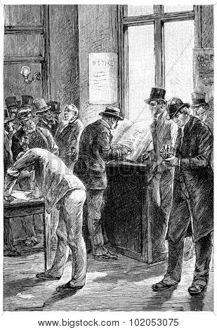 Subscriptions had just been opened, vintage engraved illustration.
