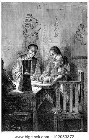 China and the Chinese, Banker Association in Hong Kong, vintage engraved illustration. Journal des Voyage, Travel Journal, (1880-81).