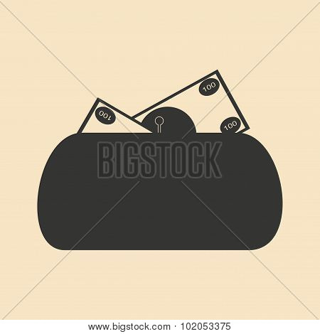 Flat in black and white women purse full money